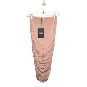 Missguided Nude Colored Ruched Midi Skirt